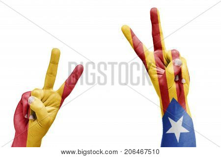Spanish And Catalan Flag Painted On Hands Celebrating Victory, Referendum
