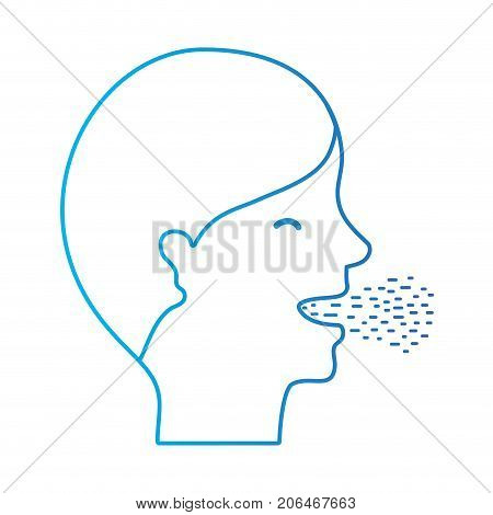 line man with cold and sore throat sickness vector illustration