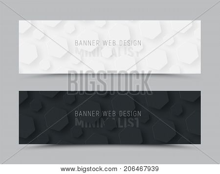 Template Of A Black And White Horizontal Banner With Hexagons Hovering Over The Background