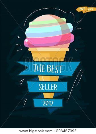 Ice cream cone cartoon icon with inscription. Vector illustration best seller 2017