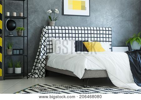 Scandinavian Bedroom With White Orchid