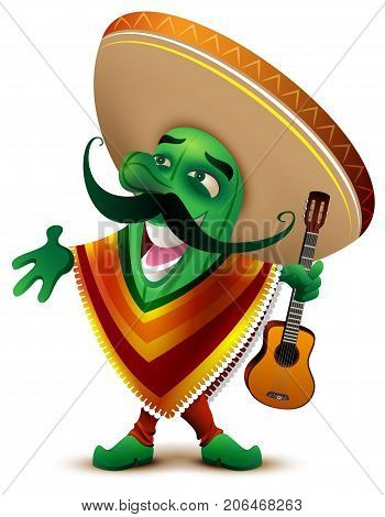 Green Mexican cactus in sombrero and poncho sings. Isolated on white vector cartoon illustration