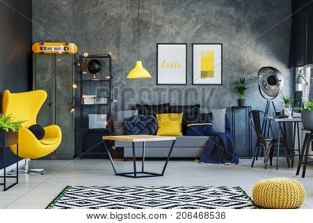 Living Room With Yellow Chair