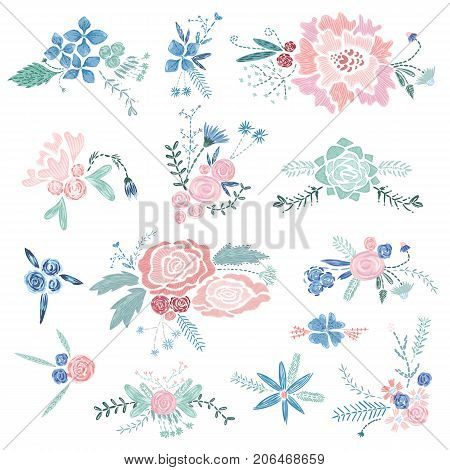 Set of romantic embroidery style bouquets with flowers and leaves in pastel colors