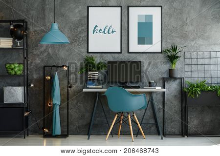 Home Office With Blue Chair