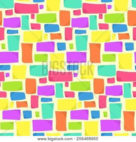 Abstract seamless pattern with bright colorful rectangles on light background. Fashion trendy vector texture with squares and rectangle shapes for textile, wrapping paper, cover, surface, wallpaper
