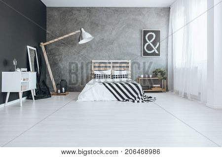 Bedroom With Textured Wall