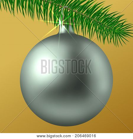 Realistic Silver Matte Christmas Ball Or Bauble With Fir Branch Isolated On White Background. Vector