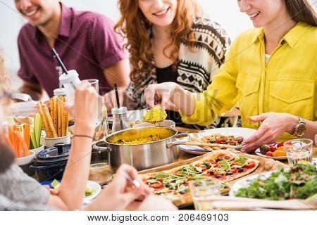 Friends Eating Vegetarian Breakfast
