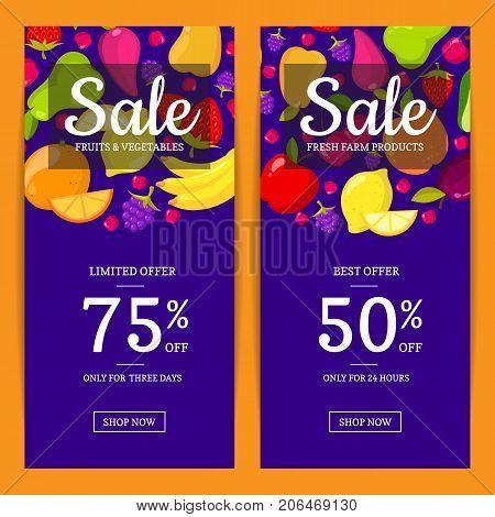 Vector flat fruits vegan shop or market sale flyer, banner templates. Bannes sale illustration