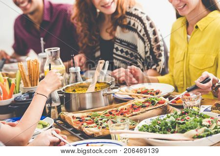 Table Full Of Vegan Dishes