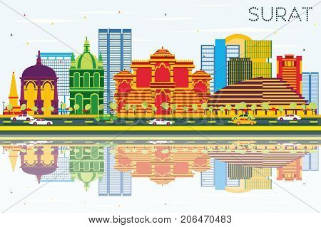 Surat Skyline with Color Buildings, Blue Sky and Reflections. Business Travel and Tourism Concept with Historic Buildings.