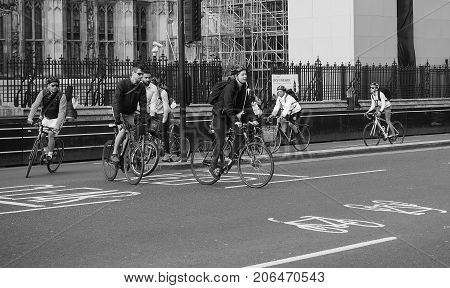 Cyclists In London Black And White