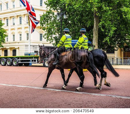 Police On Horseback In London, Hdr