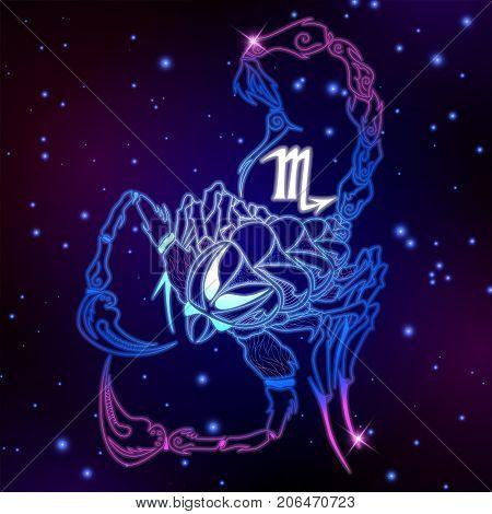 Scorpio zodiac sign horoscope symbol vector illustration poster