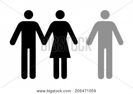 Couple and single icon flat isolated on white. Conceptual representation of refusal betrayal choice of a partner.