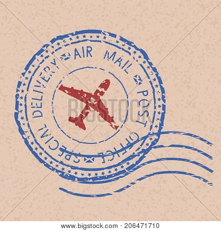 Blue round postmark with red airplane on beige background. Vector illustration
