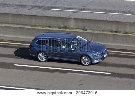 Frankfurt Germany - Sep 19 2017: Large family car Volkswagen Passat Variant driving on the highway in Germany