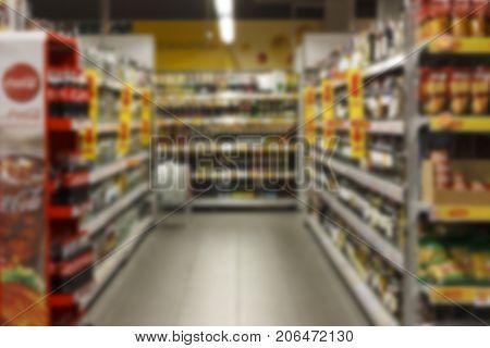 Supermarket Blurred Background Super Store