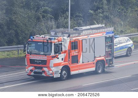 Frankfurt Germany - Sep 19 2017: MAN TGM 15.290 fire truck from the Frankfurt Main fire department during a fire-fighting operation
