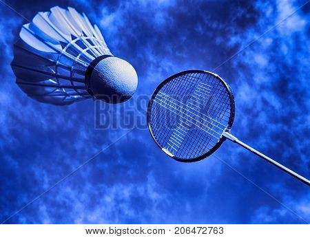 Artistic badminton racket and shuttlecock closeup. Badminton fantasy and memory from my time.