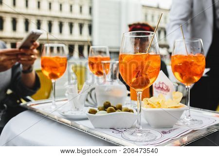 Aperol Spritz is a cocktail consisting of prosescco, aperitif and soda water.