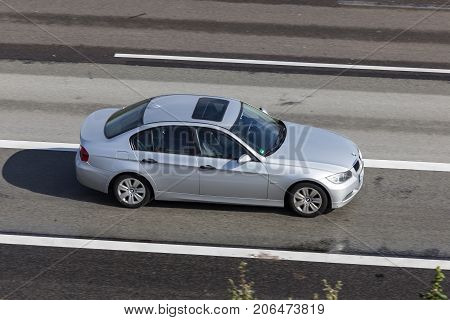 Frankfurt Germany - Sep 19 2017: BMW 3 Series E90 driving on the highway in Germany