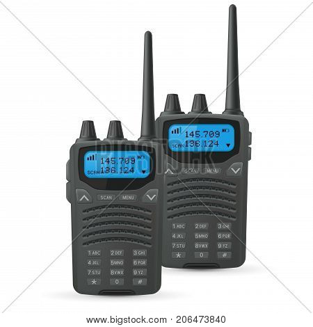 Radio transceivers. Two black rectangle portable devices with blue screen and antenna. Vector 3d illustration isolated on white background