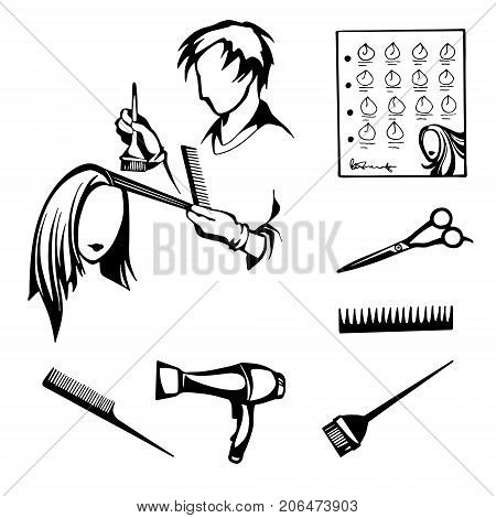 vector black and white set of tools for hairdressers cutting and styling hair, coloring hair in a beauty salon