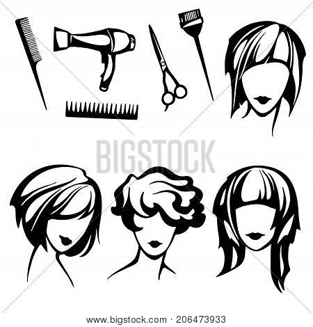 vector set of stylized logo with women's hairstyles and hairdressers tools, a collection of stylish, fashionable hairstyles for short hair for beauty