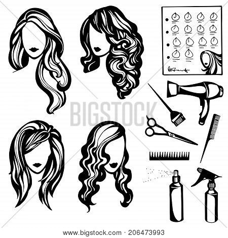vector set of logos, barbers and beauty salon, a collection of hairstyles with long hair and hairdressers tools