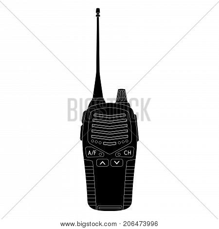 Radio transceiver with antenna. Black flat icon. Vector illustration isolated on white background