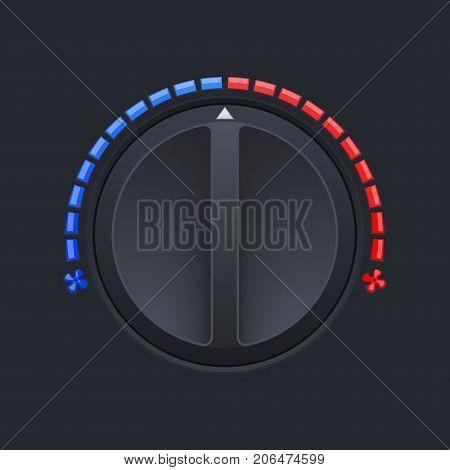 Car dashboard black switch. Air temperature selector. Vector 3d illustration