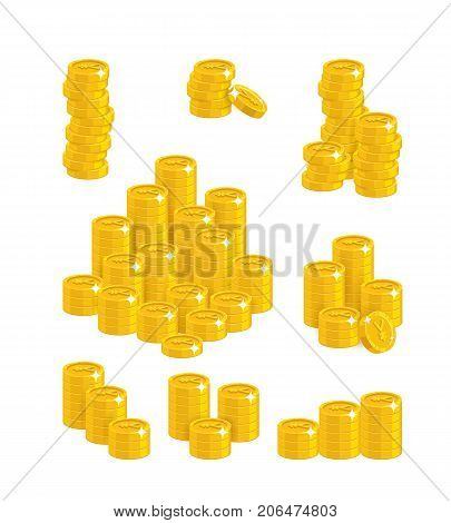 Chinese yuan or Japanese yen coin heaps. Exceeding income goals, calculating high income and a large capital base. Business finance and economy concept. Cartoon vector illustration on white background