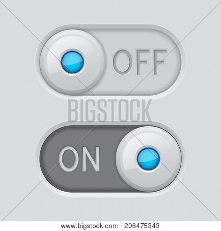Toggle switch white buttons ON and OFF. Vector 3d illustration