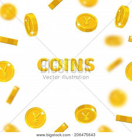 Flying gold Chinese yuan or Japanese yen cartoon frame. Background of the flying gold of yuan or yen in the form of a frame in a cartoon style. Cover gold pieces in the form of vector illustrations poster