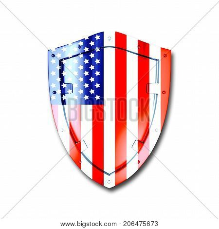 Shiny metal shield, in the colors of the flag of the USA, 3D, isolated against the White background.