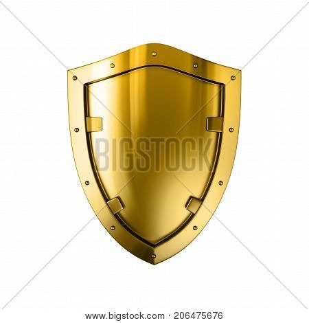 Gold metal shield, 3D, isolated against the White background.