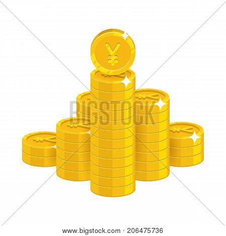 Mountain gold Chinese yuan or Japanese yen isolated cartoon icon. Bunches of gold yuan or yen and yuan or yen signs for designers and illustrators. Gold stacks of pieces vector illustration poster