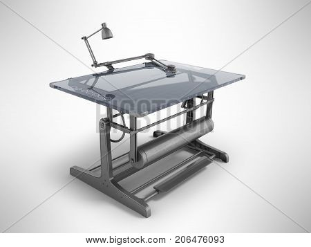 Electronic Drawing Table For Drawing With Regulators 3D Rendering On A Gray Background