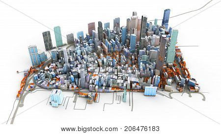 Architectural 3D Model Illustration Of A Large City On A White Background