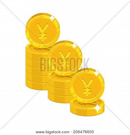 Piles gold Chinese yuan or Japanese yen isolated cartoon icon. Three heaps of gold yuan or yen and yuan or yen signs for designers and illustrators. Gold stacks of pieces vector illustration