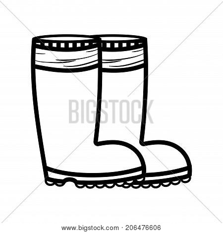 line rubber boots object to protection feet vector illustration