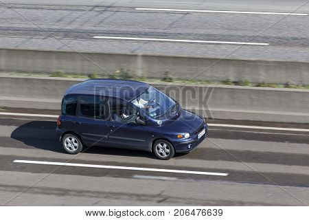 Frankfurt Germany - Sep 19 2017: Compact italian MPV Fiat Multipla driving on the highway in Germany