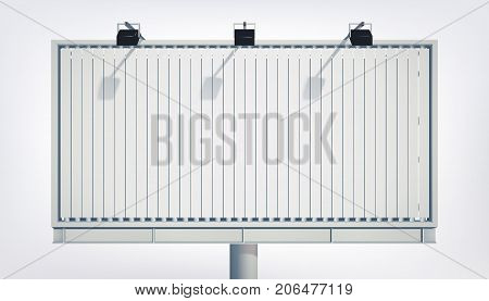 Light horizontal billboard for marketing and advertisement with blank canvas and projectors isolated vector illustration