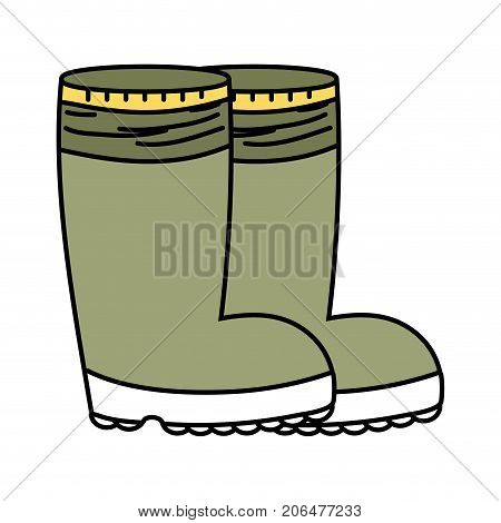 rubber boots object to protection feet vector illustration