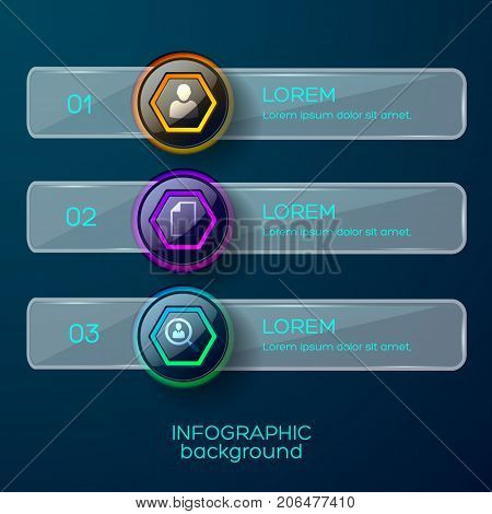 Infographic background concept with three numerical glossy frames with icons text description and solid horizontal shape vector illustration