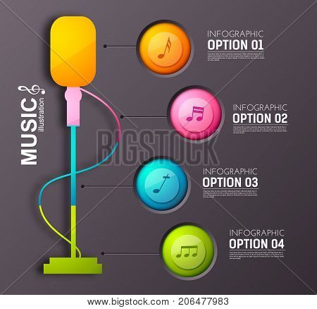 Music infographic concept with colorful round buttons four options stage microphone and musical notes vector illustration