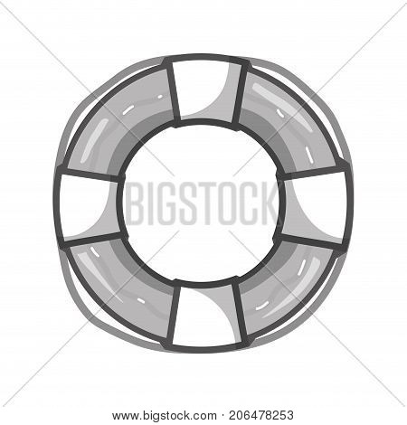 grayscale life buoy object to security emergency vector illustration