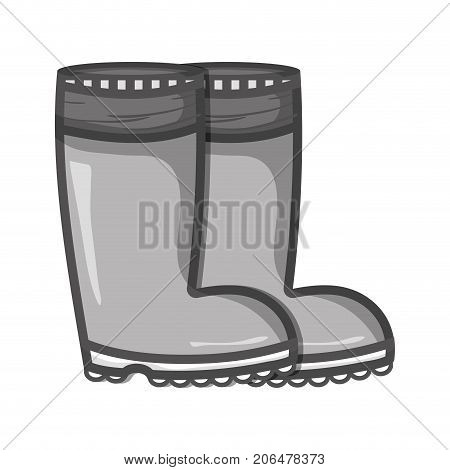 grayscale rubber boots object to protection feet vector illustration